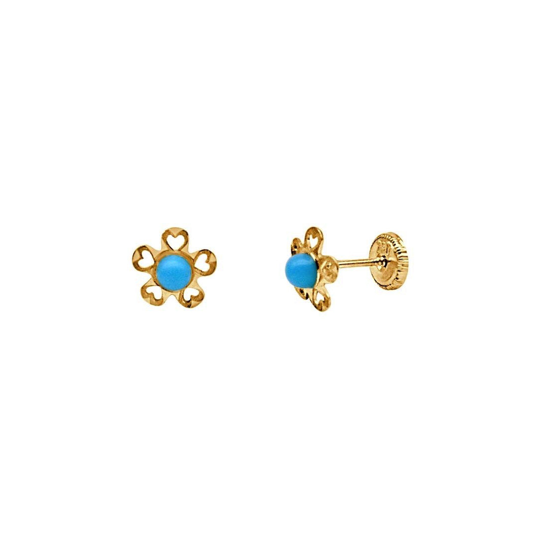 Flower with Turquoise Earrings
