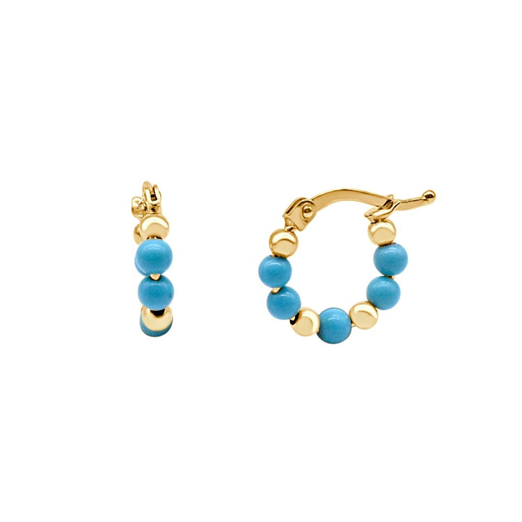 Turquoise and Gold Beads Hoop Earrings