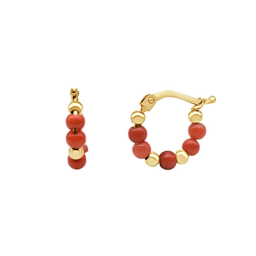Coral and Gold Beads Hoop Earrings - VaskiaJewelry