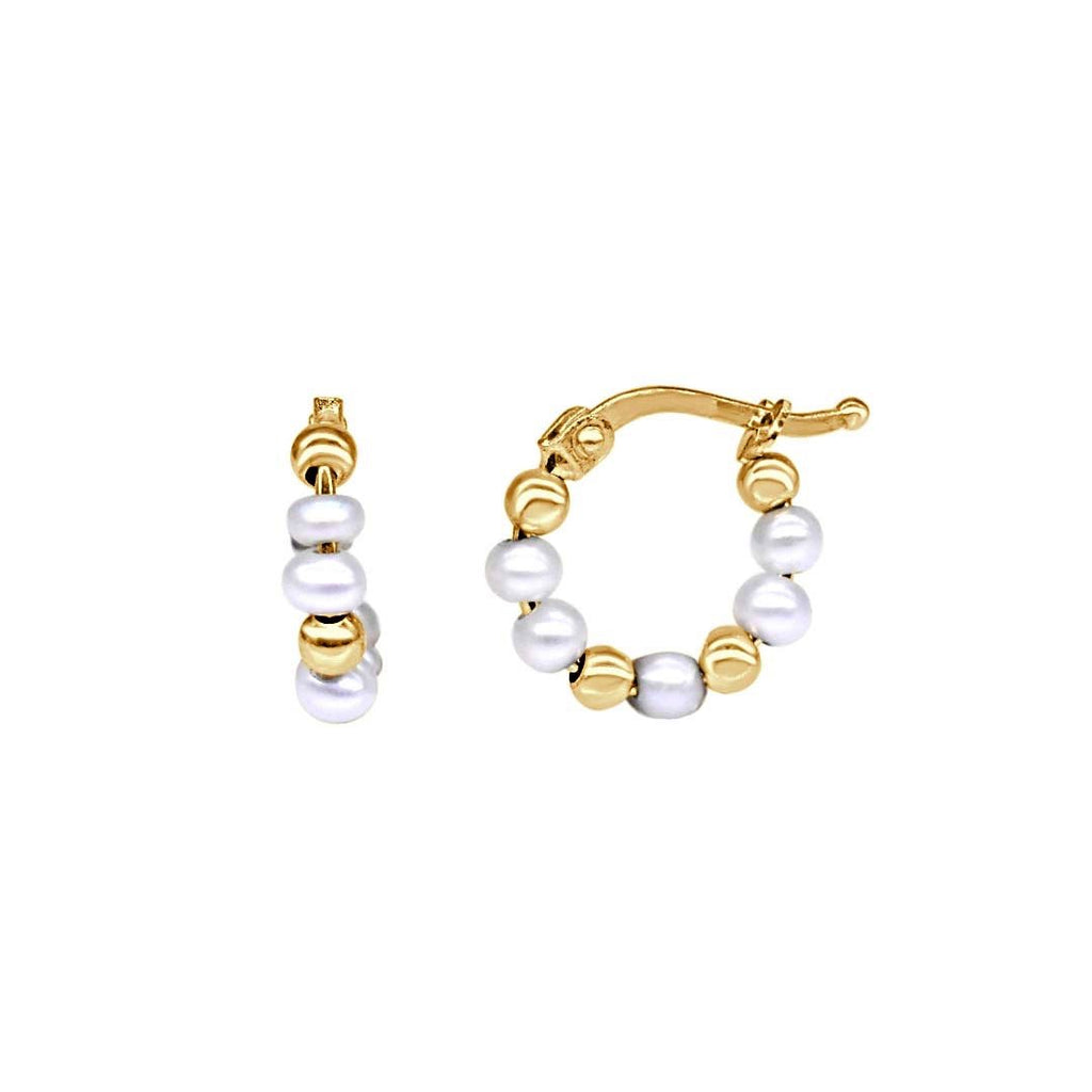 Pearls and Gold Beads Hoop Earrings - VaskiaJewelry