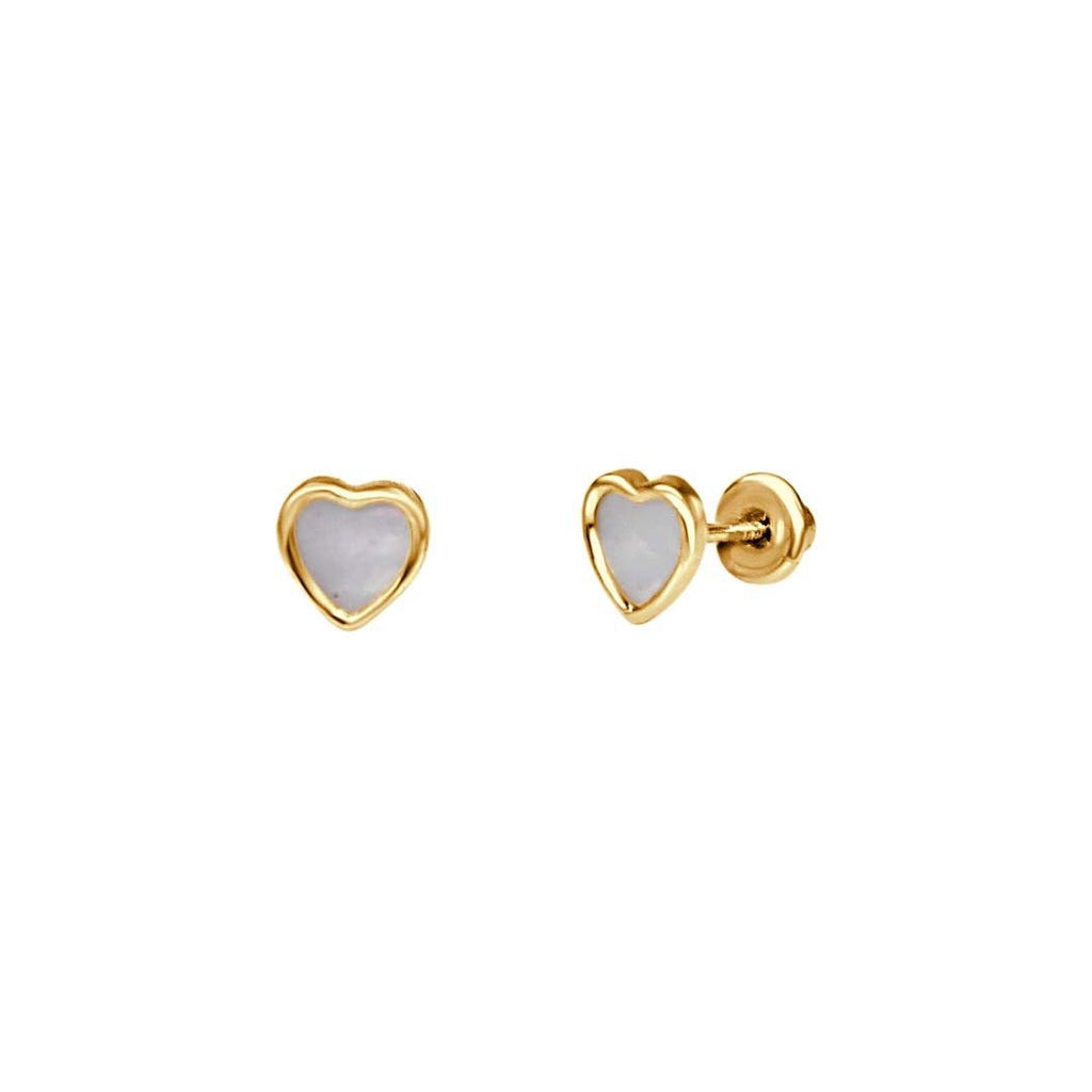 Mother of Pearl Heart Earrings - VaskiaJewelry