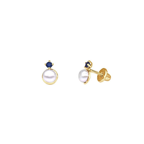 Blue Sapphire and Pearl Earrings
