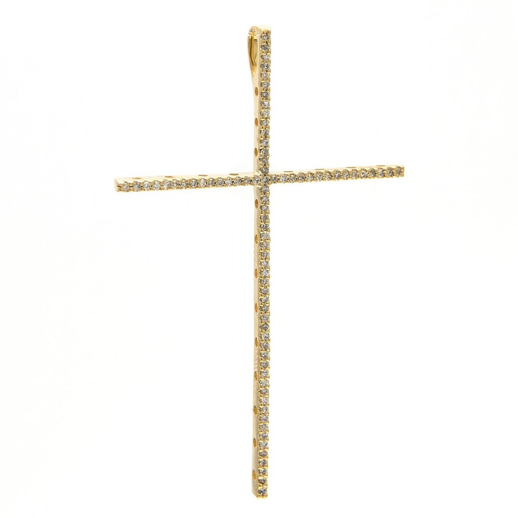 Large Thin Diamond Cross Pendant - VaskiaJewelry