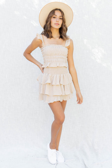 Beachy Ruffle Top And Skirt Set