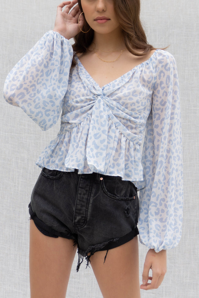 Blue Leopard Off Shoulder Blouse
