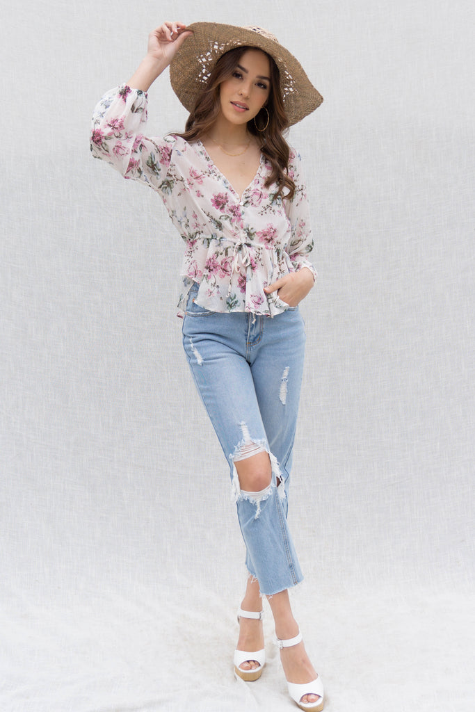 Lovely Floral Sheer Top