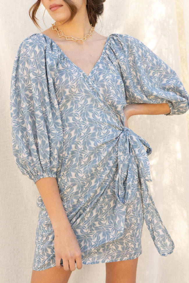 Isla Puffy Sleeve Wrap Dress