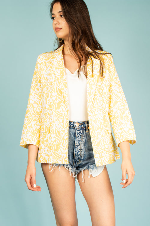 Yellow Floral Printed Blazer