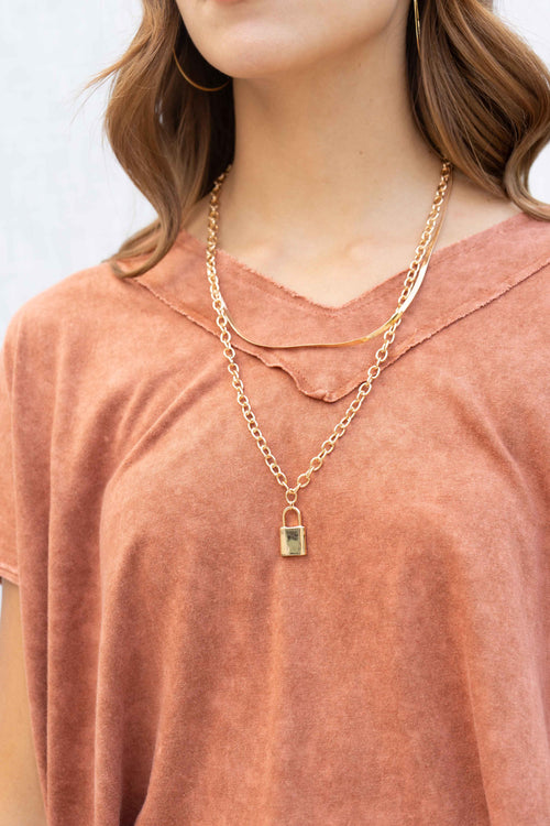 Chain Padlock Pendant Layered Necklace