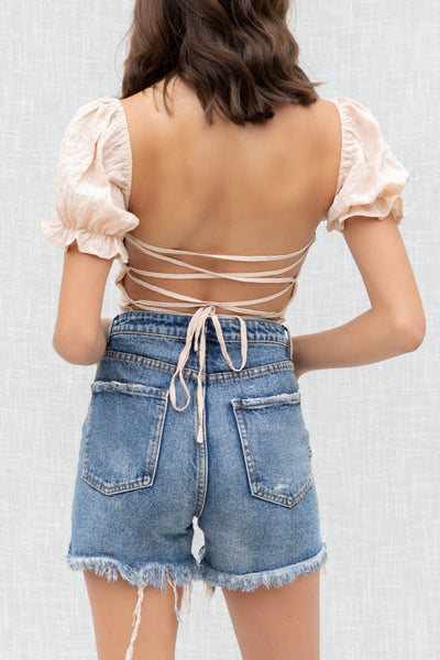 Hailey Crinkle Lace Back Top