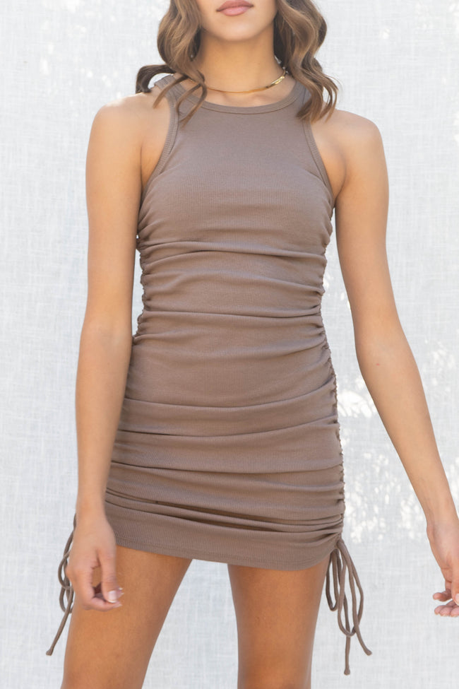 Jade Ribbed Side Ruched Dress