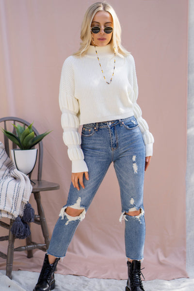 Donut Sleeve Cropped Sweater