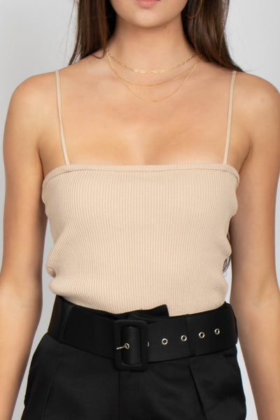 Rose Square Neck Ribbed Top