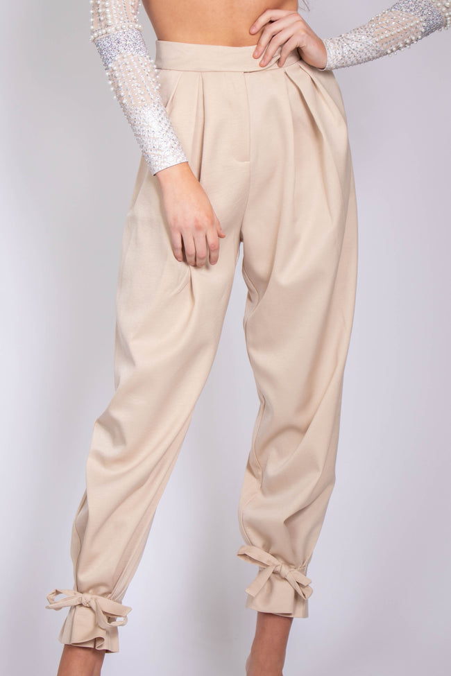 Holly Satin Ankle Tie Pants