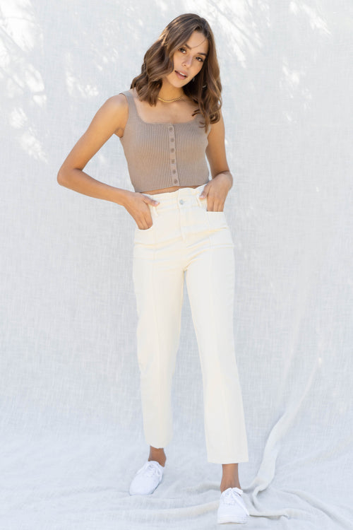 Keily Rib Square Neck Crop Top