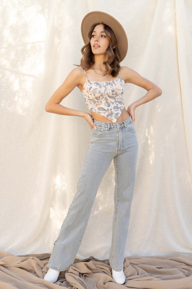 Sarah Side Slit Denim Pants