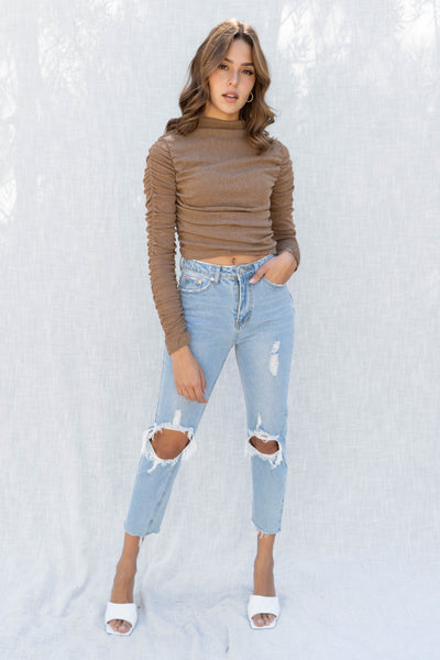 Zoey Ruched Sleeve Mock Neck Top
