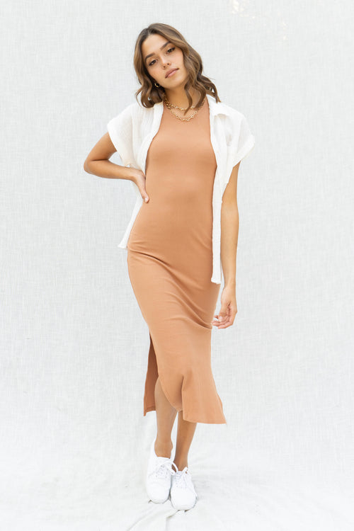 Mel Soft Ribbed Midi Dress