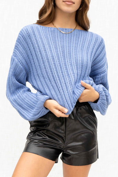 Nicole Ribbed Balloon Sleeve Sweater