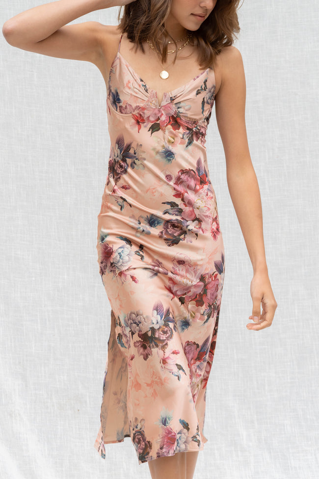 Lovely Floral Bra Cup Midi Dress