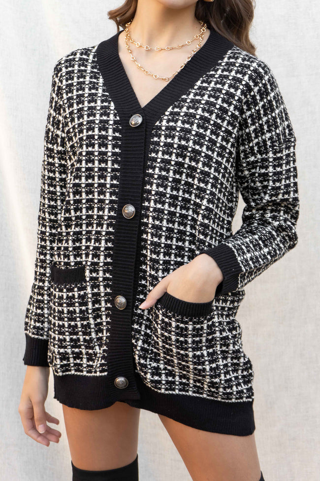 Shelly Knit Tweed Cardigan