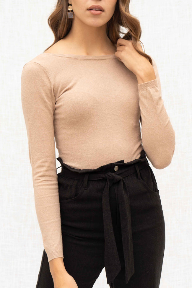 Alyssa Scoop Back Long Sleeve Bodysuit