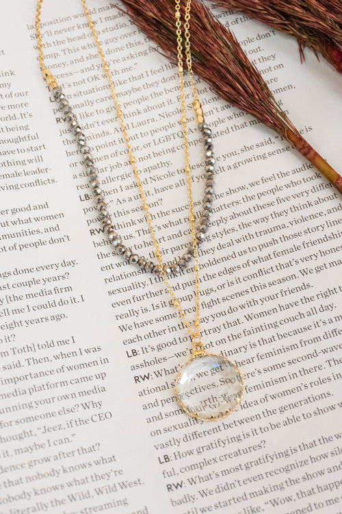 Beaded Layered Clear Circle Necklace