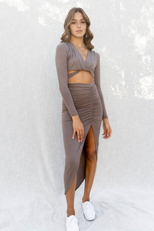 Rosalia Front Slit Skirt Set