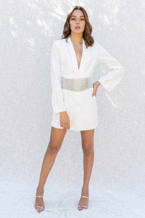 Samantha Thick Belt Blazer Mini Dress