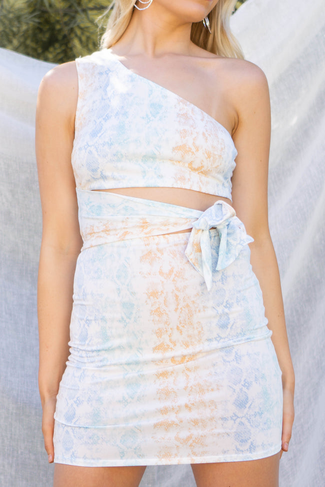 Pastel Snake Cut Out Dress