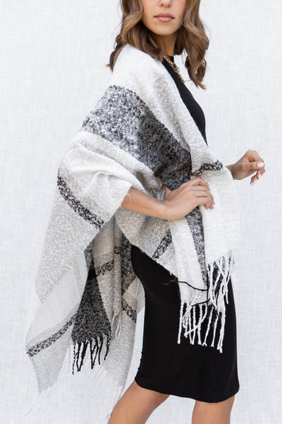 Autumn Plaid Fringe Poncho