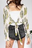 Palm Leaf Tie Front Top