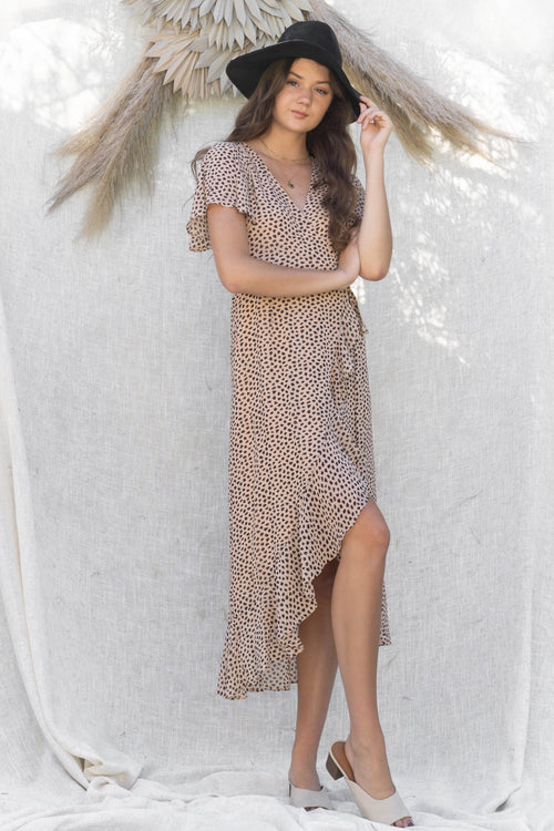 Wild Heart Printed Wrap Dress