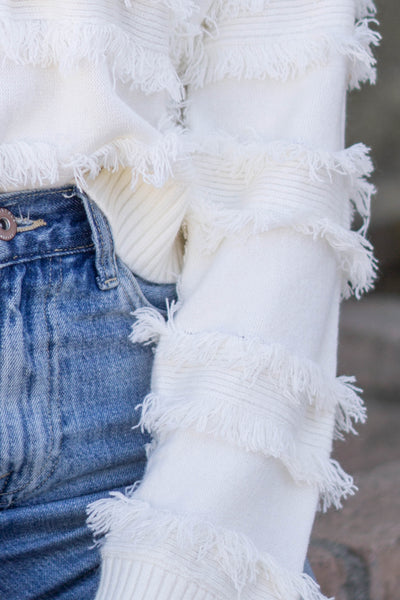 Fringe Stripe Detail Sweater