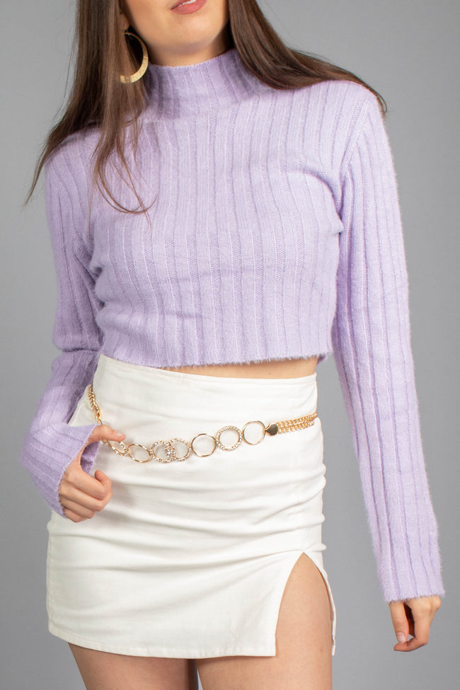 Sandy Ribbed Mock Neck Sweater