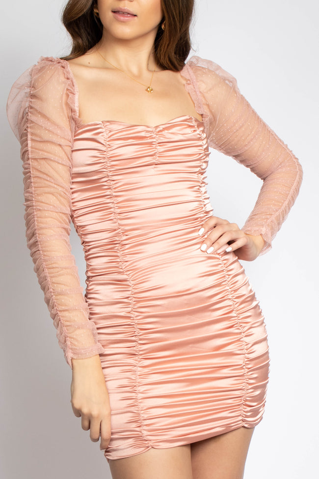 Satin Mesh Sleeve Ruched Dress