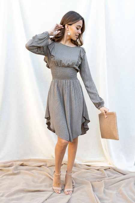 Melanie Long Sleeve Ruffle Dress