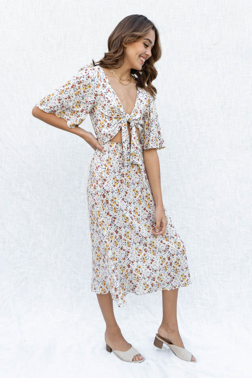 Aurielle Fall Floral Tie Front Dress