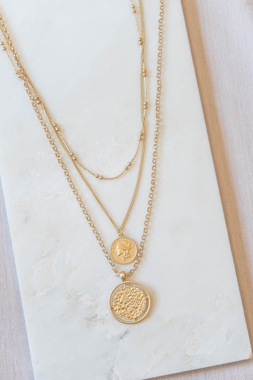 Layered Hammered Coin Necklace