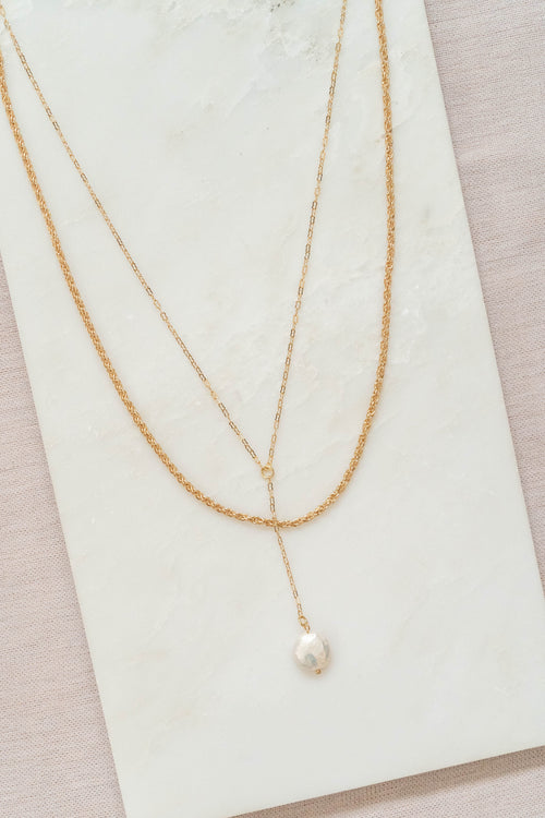 Layered Rope Chain Lariat Necklace