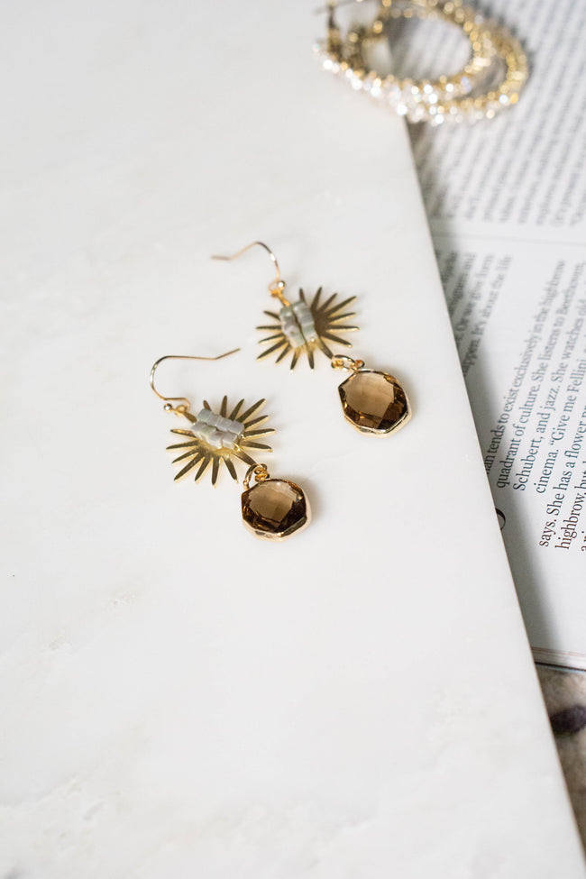 Faceted Stone Sun Earrings