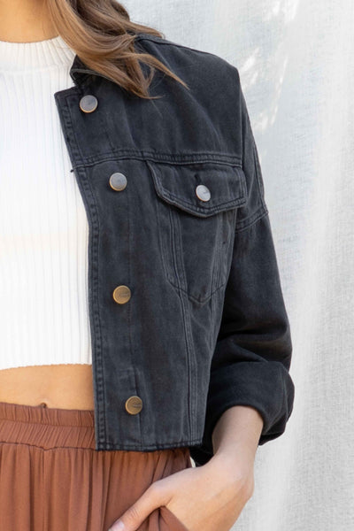 Raw Hemline Crop Denim Jacket