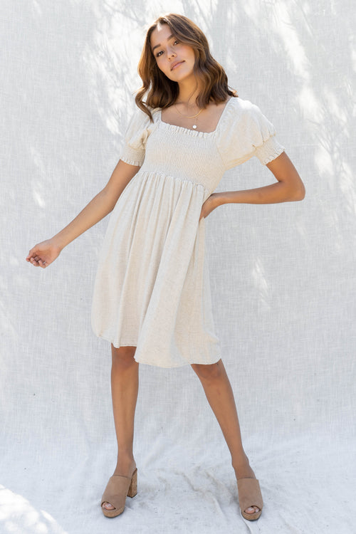 Adrienne Babydoll Linen Dress