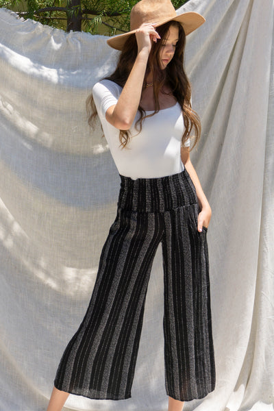 Striped Crinkle Gauze Pants