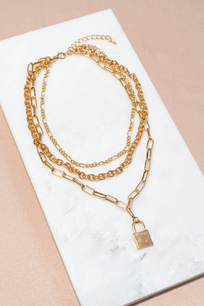 Small Lock Layered Chain Necklace