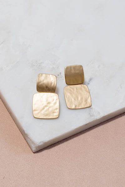 Metallic Double Square Earrings