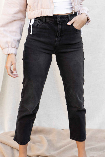 High Rise Black Wash Straight Jeans