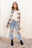 Beige Plaid Print Long Scarf