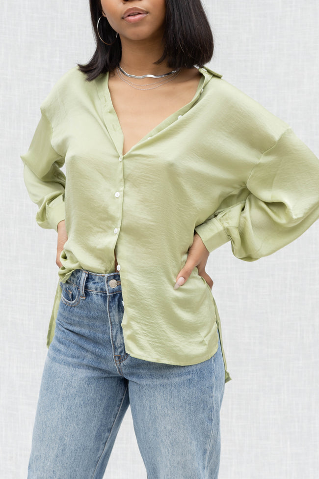 Satin Boyfriend Button Down Top