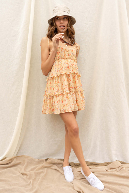 Summer Peach Floral Dress